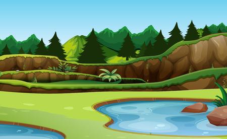 Beautiful green nature background illustration