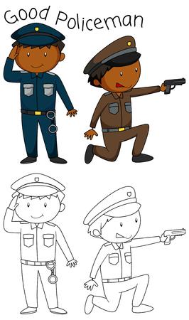 Doodle good policeman character illustration