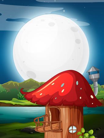 Mushroom house at night illustration Stock Illustratie