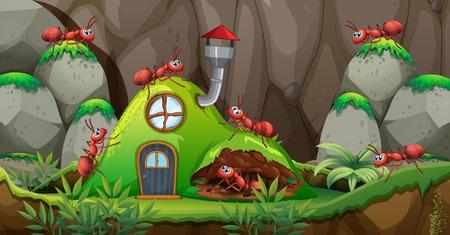 Cualquier casa en la ilustración de la naturaleza. Ilustración de vector
