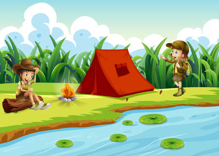 Kids camping by the water with a tent illustration