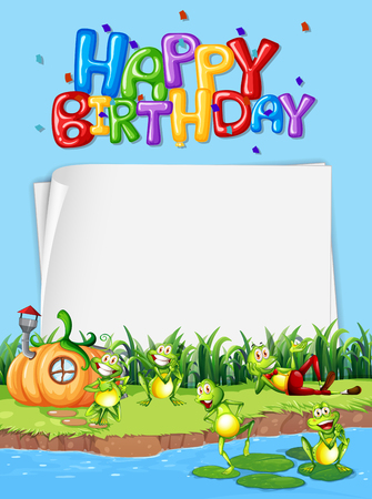 Happy frog on birrthday card illustration