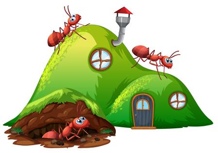 Ilustración de casa de hormiga de agujero subterráneo