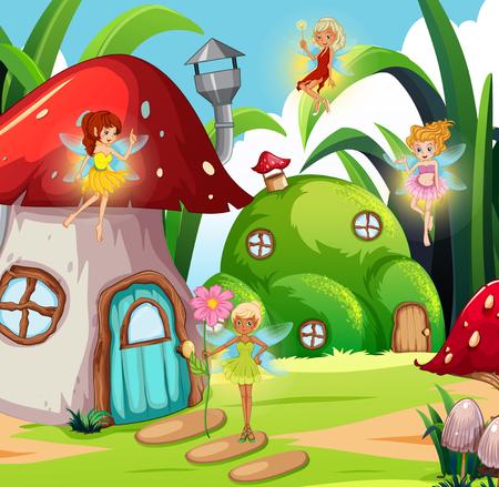 Fairy in magic land illustration
