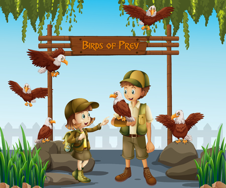 A zoo keeper with eagle illustration