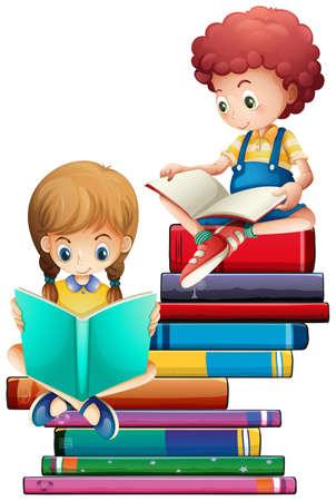 Children with books on white background illustration Vektorové ilustrace