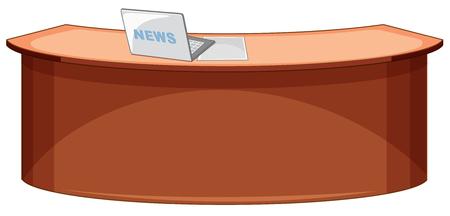 An empty news studio desk illustration