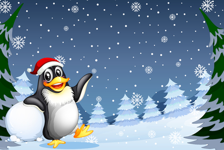 Christmas penguin in winter background illustration Illusztráció