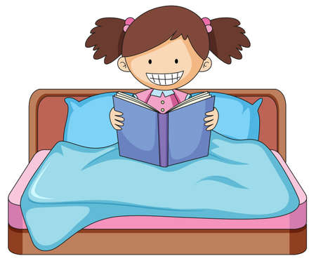 A girl reading book in bed illustration Banco de Imagens - 121751460