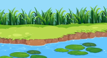 Flat nature pond landscape illustration