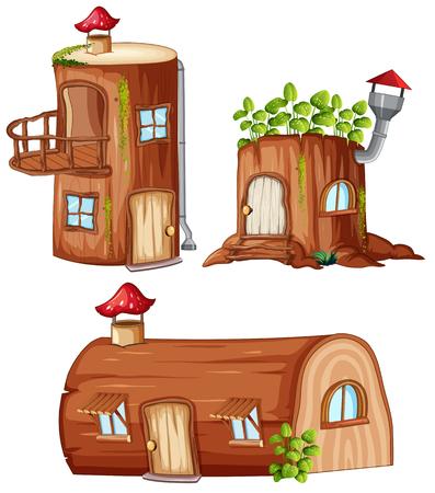 Set di illustrazioni di case in legno incantate Vettoriali