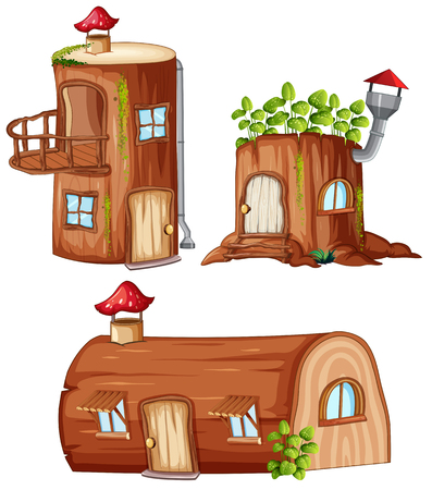 Set of enchanted wooden house illustration