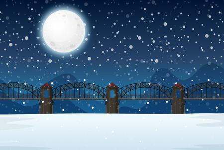 Une illustration de paysage de nuit d'hiver