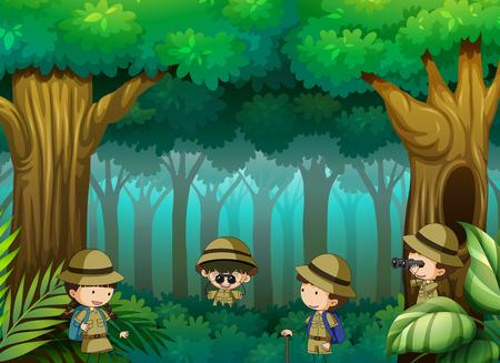 Niños explorando la ilustración del bosque.
