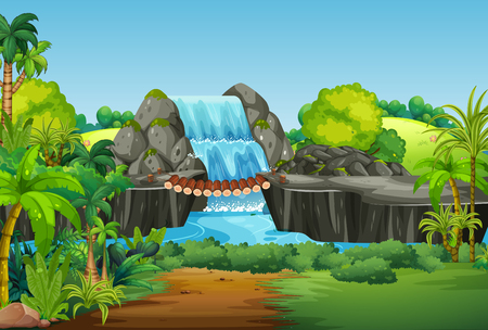 A nature waterfall landscape illustration