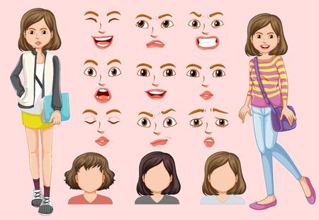 Set of cute girl with different facial expression illustration Ilustração