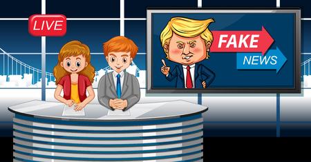 Fake news live at studio illustration