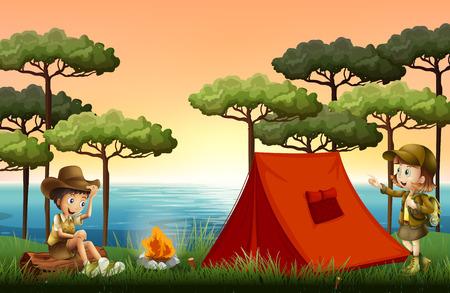 Bambini in campeggio nella natura illustrazione