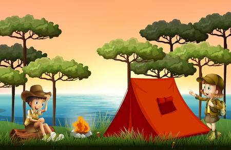 Children camping in nature illustration