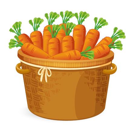 Carrot in in basket weaving illustration Vektoros illusztráció
