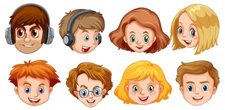 Set of hipster face illustration