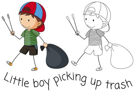 Doodle boy picking up trash illustration