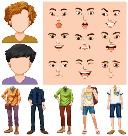 Set of young man with different facial expression illustration