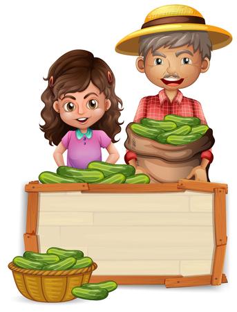 Farmer holding cucumber on wooden board illustration