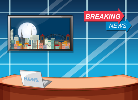 Breaking news studio template illustration Vettoriali
