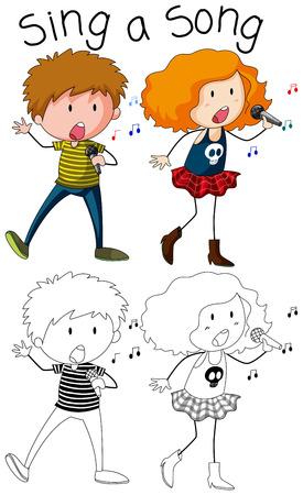 Doodle boy and girl singer character illustration Illustration