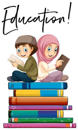 Education boy and girl reading illustration