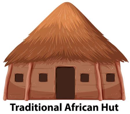 Una ilustración tradicional de la choza africana. Ilustración de vector