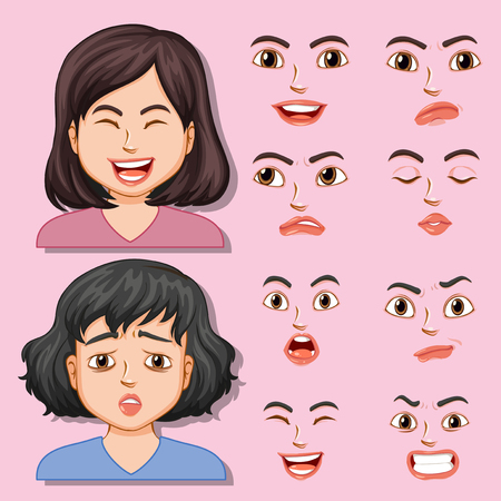 Girl with different facial expression illustration