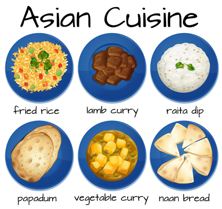 Set of asian cuisine illustration