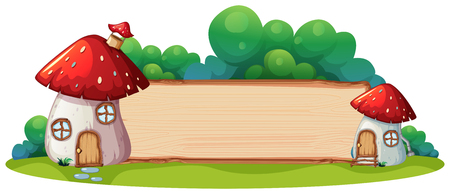 Mushroom house with wooden board illustration