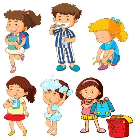 Set di illustrazione di attività per bambini