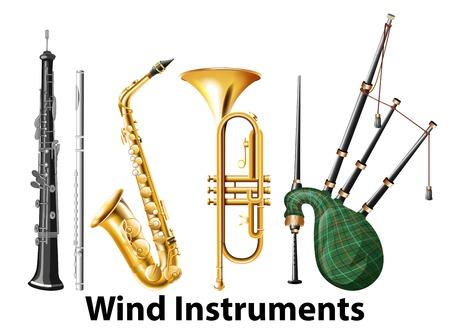Set of wind instruments illustration