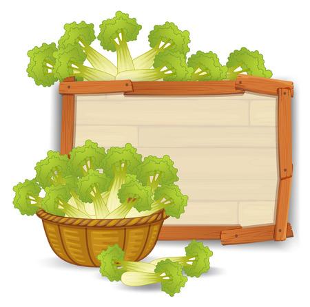A basket of celery on wooden banner illustration