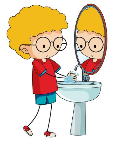 Doodle bod cleaning hands illustration Ilustrace