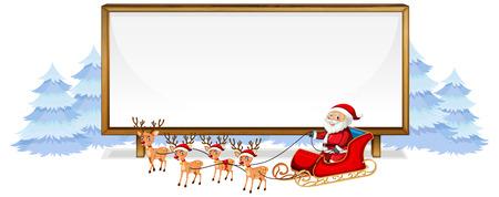 Santa on whiteboard banner illustration Illustration