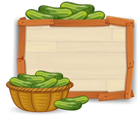 Cucumber on wooden banner illustration Illustration
