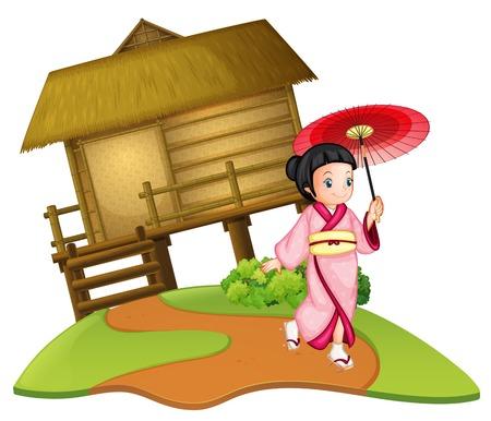 A japanese girl on wooden hut illustration