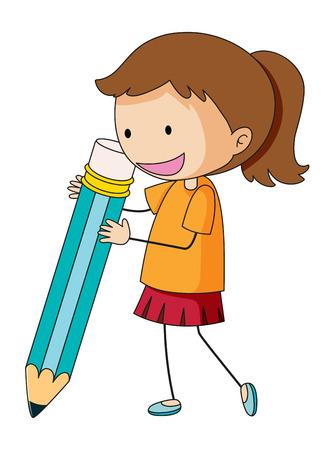 scarabocchiare, ragazza, presa a terra, matita, illustration