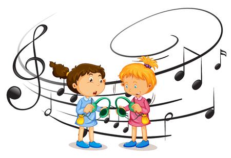 Girls listening to music illustration