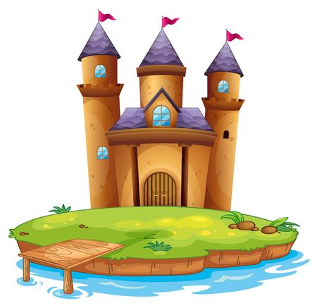 Isolated castle on white background illustration Illusztráció
