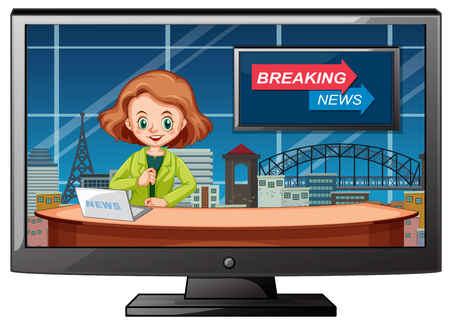 Live breaking news in studio illustration