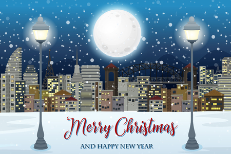 Merry christmas with cityscape illustration