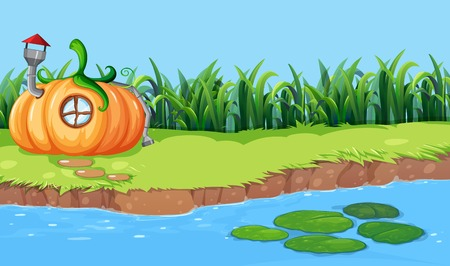 Pumpkin house next to the river illustration Illustration