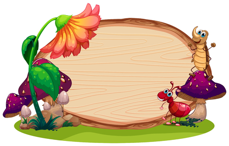 insect on the wooden board illustration