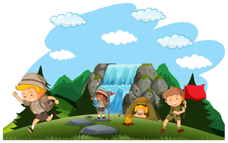 Camping kids camping in nature illustration